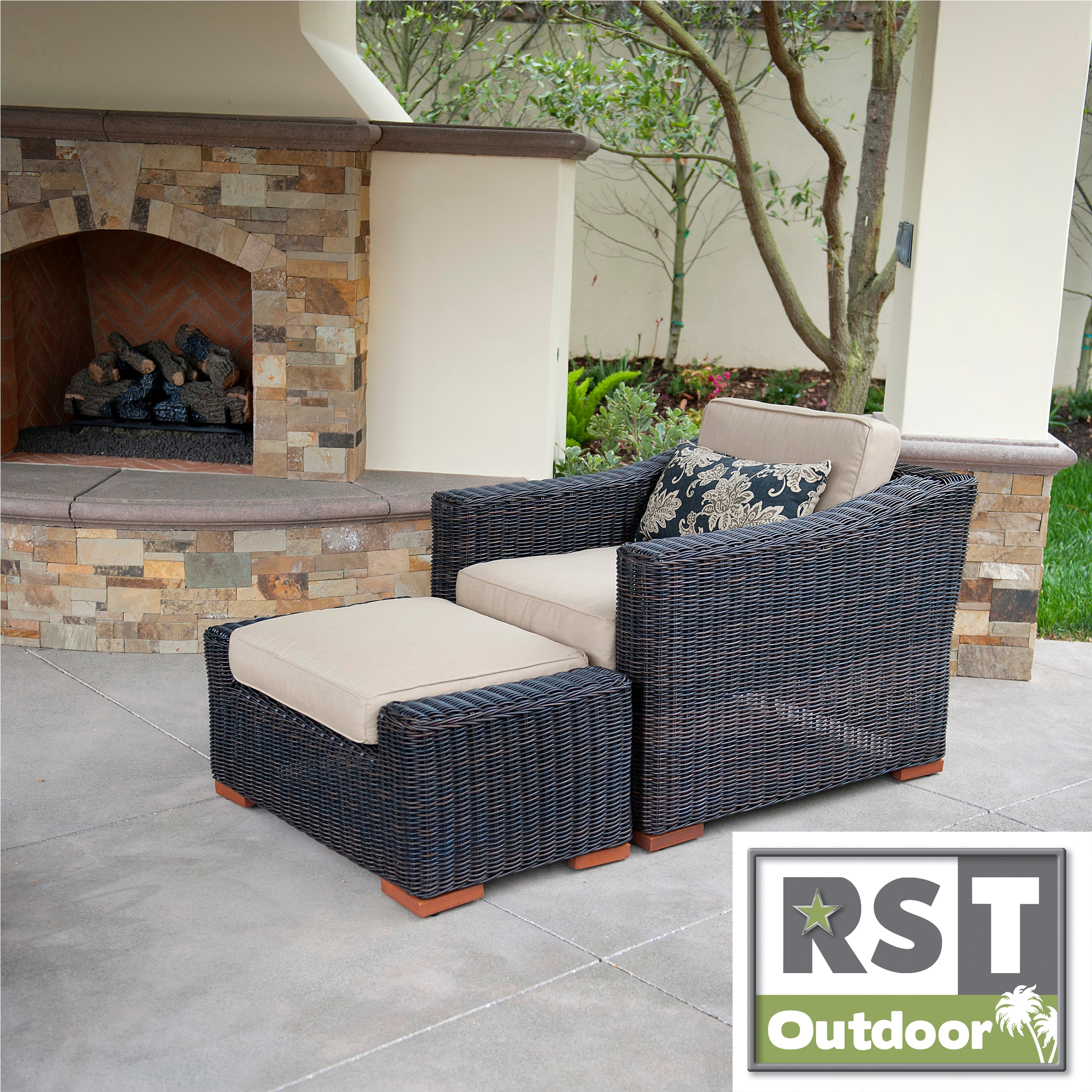 RST Resort Collection Espresso Club Chair and Ottoman Rattan Patio