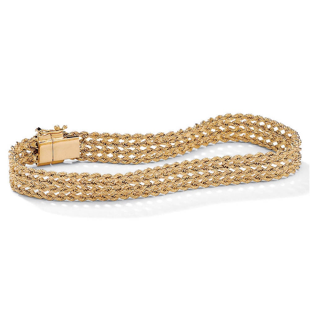 10k Gold Braided Rope Bracelet 7 1 4 Tailored On Free Shipping Today 7377795