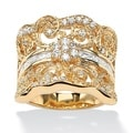 1.21 TCW Round Cubic Zirconia Concave Scroll Ring 18k Yellow Gold-Plated Glam CZ