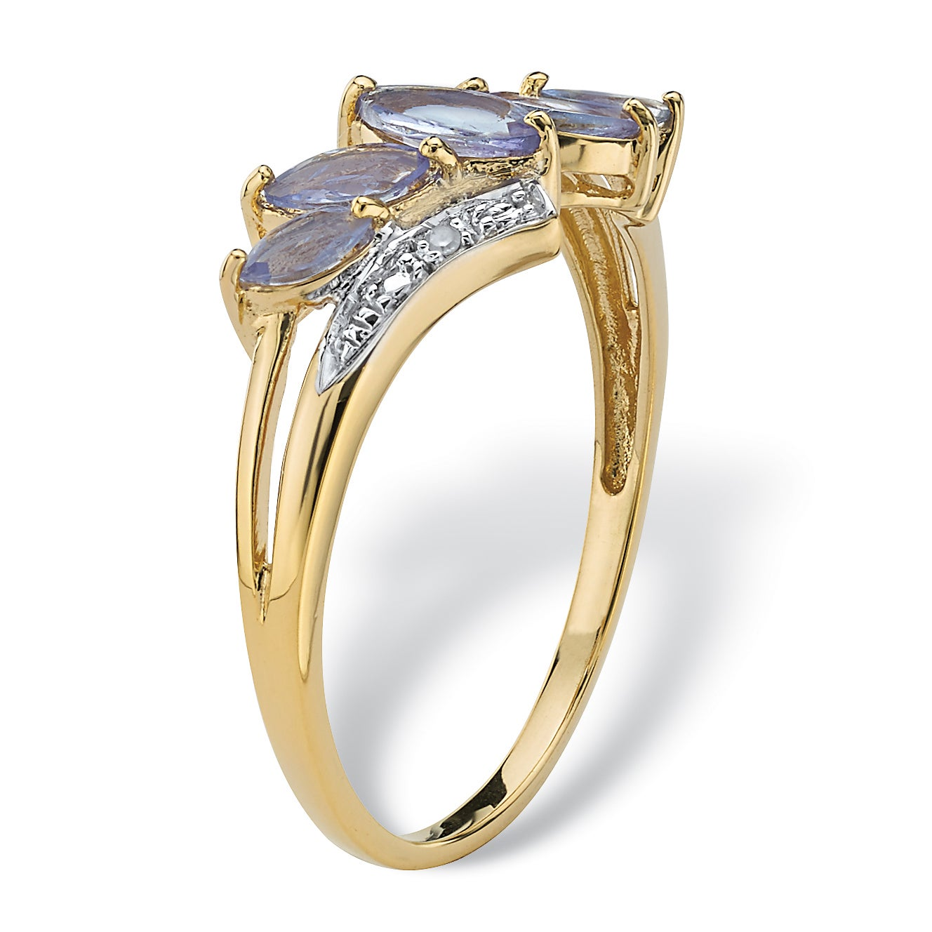 bf8e4cc04 Shop .76 TCW Genuine Purple Tanzanite with Diamond Accent 18k Gold over  Sterling Silver Ring - Free Shipping Today - Overstock - 7377942