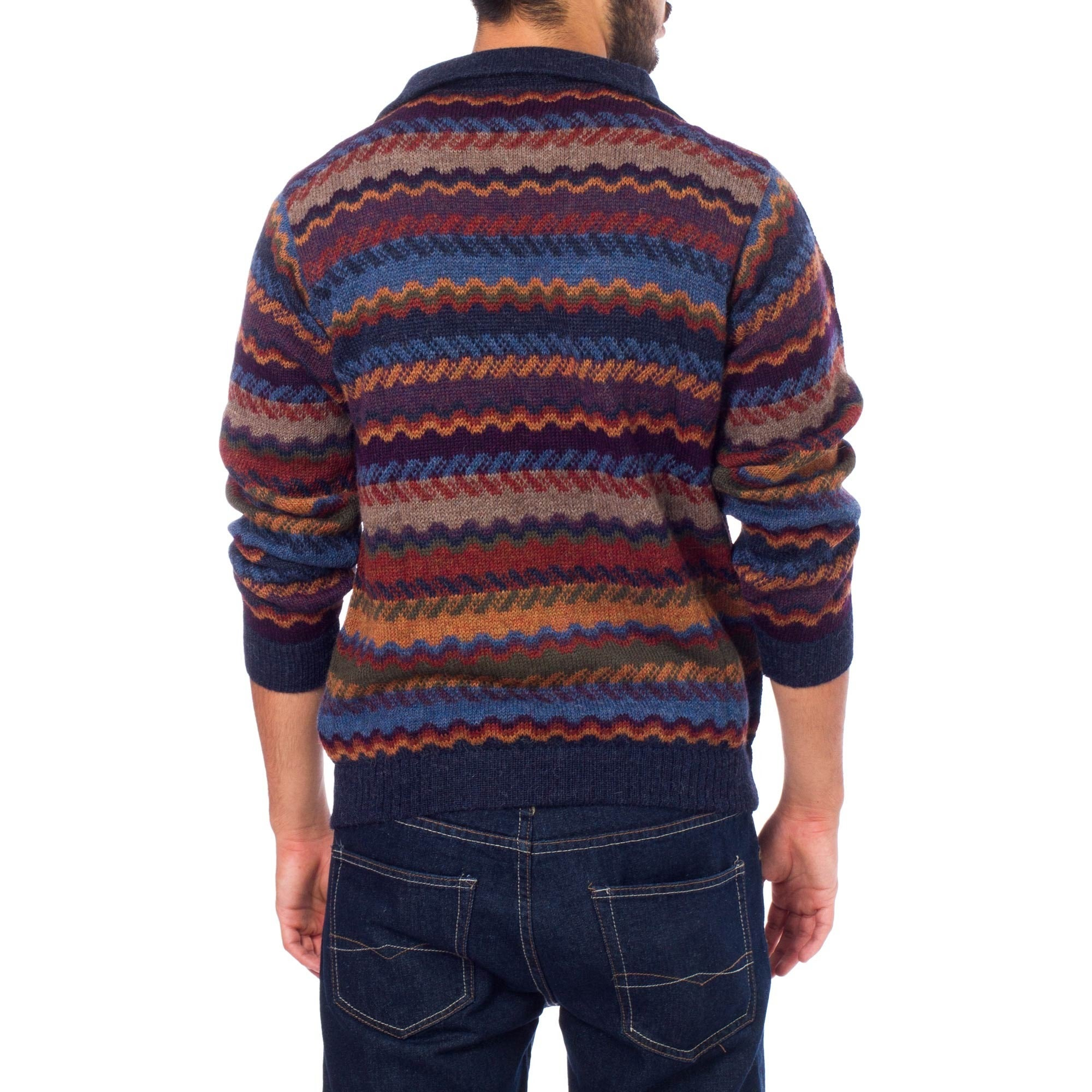 916584c50d Mountain Life Multicolor Patterned 100-percent Alpaca Wool Casual Collared  Long Sleeve Quarter-zip Mens Pullover Sweater (Peru)