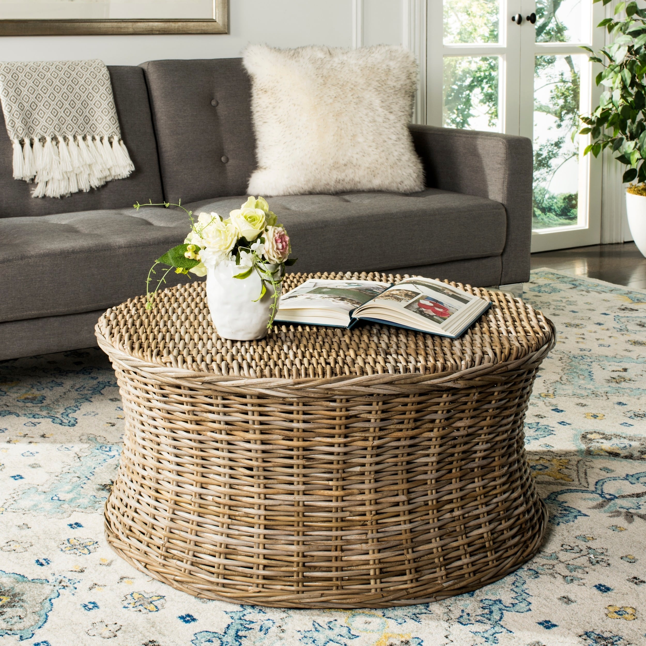 Safavieh Ruxton Storage Natural Wicker Coffee Table Free