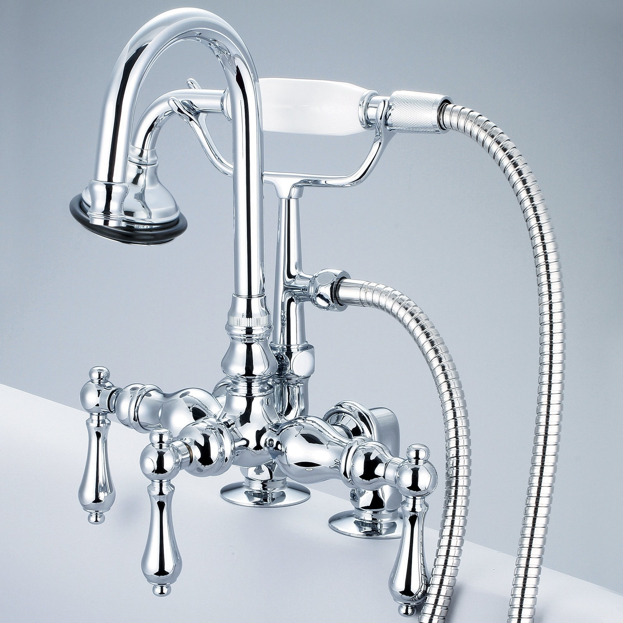 Shop Water Creation Chrome 3 3/8-inch Center Deck Mount Tub Faucet ...