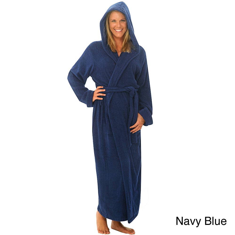 71a942e0c7 Shop Alexander Del Rossa Women s Terry Cotton Full-length Hooded Bath Robe  - Free Shipping Today - Overstock - 7396790