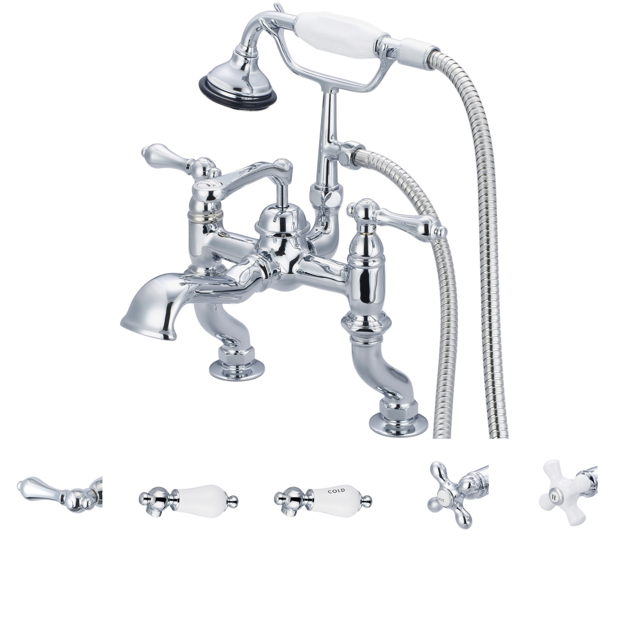 Water Creation Vintage Classic Adjustable Center Deck Mount Tub Faucet With  Handheld Shower In Chrome Finish   Free Shipping Today   Overstock    14853766