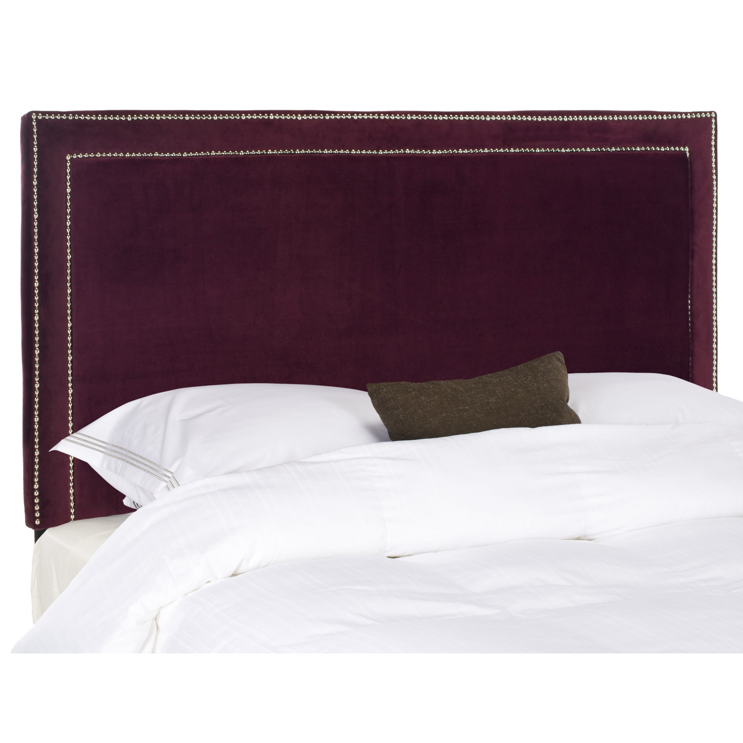 Shop safavieh cory bordeaux velvet upholstered headboard silver nailhead queen on sale free shipping today overstock com 7402066