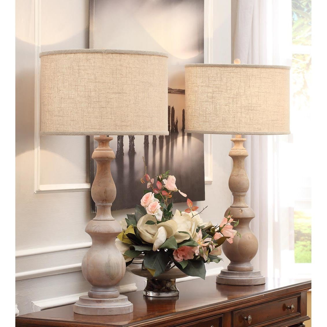Shop the gray barn latte grand milk washed wooden 38 inch oversized table lamp free shipping today overstock 7411415