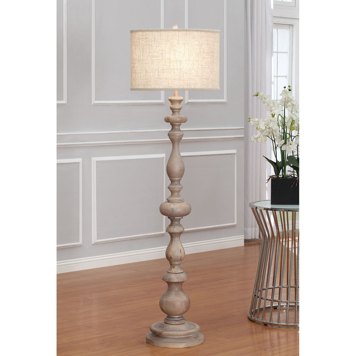 Shop the gray barn latte grande brown milk washed wood and linen shade floor lamp free shipping today overstock 7411420