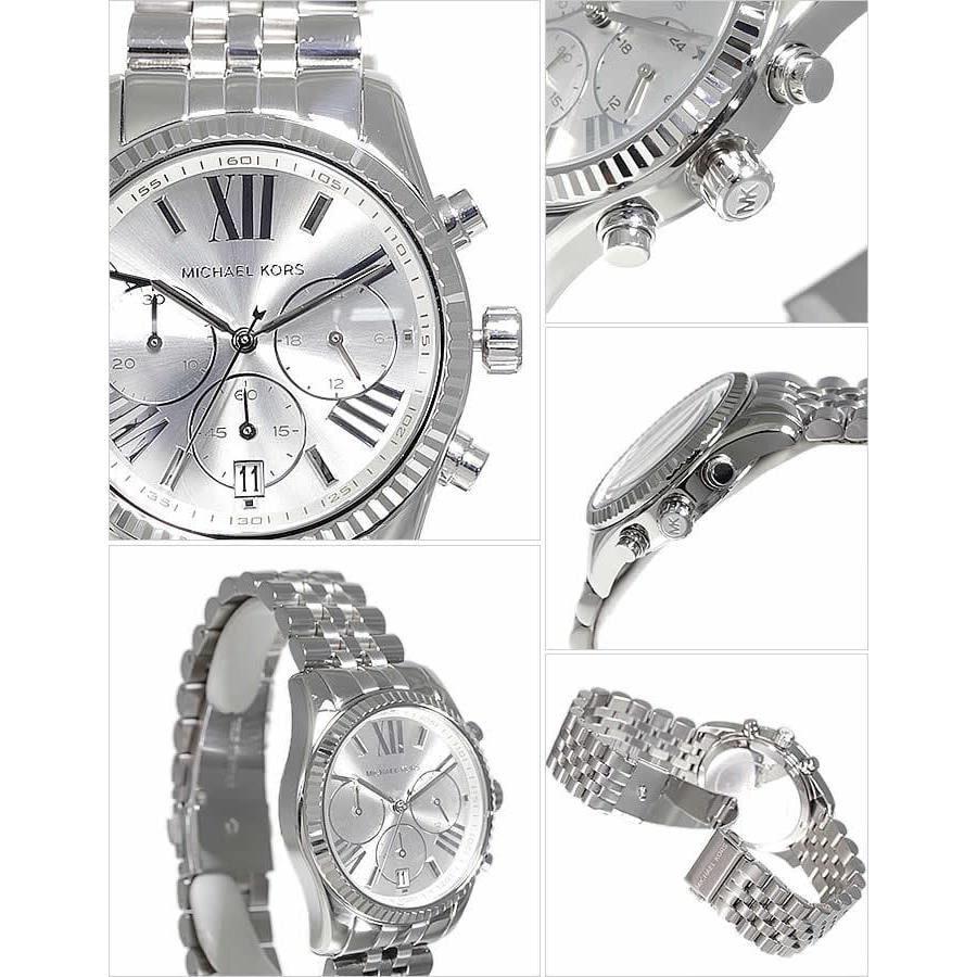 64df5f6a6445 Shop Michael Kors Women s Lexington Silver Chronograph Watch - Free  Shipping Today - Overstock - 7424097