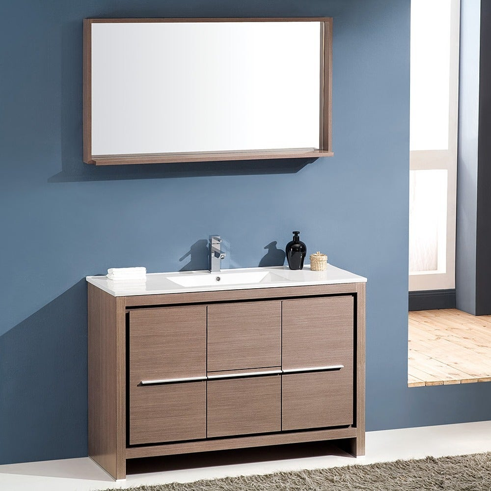 Shop Fresca Allier 48-inch Grey Oak Modern Bathroom Vanity with ...