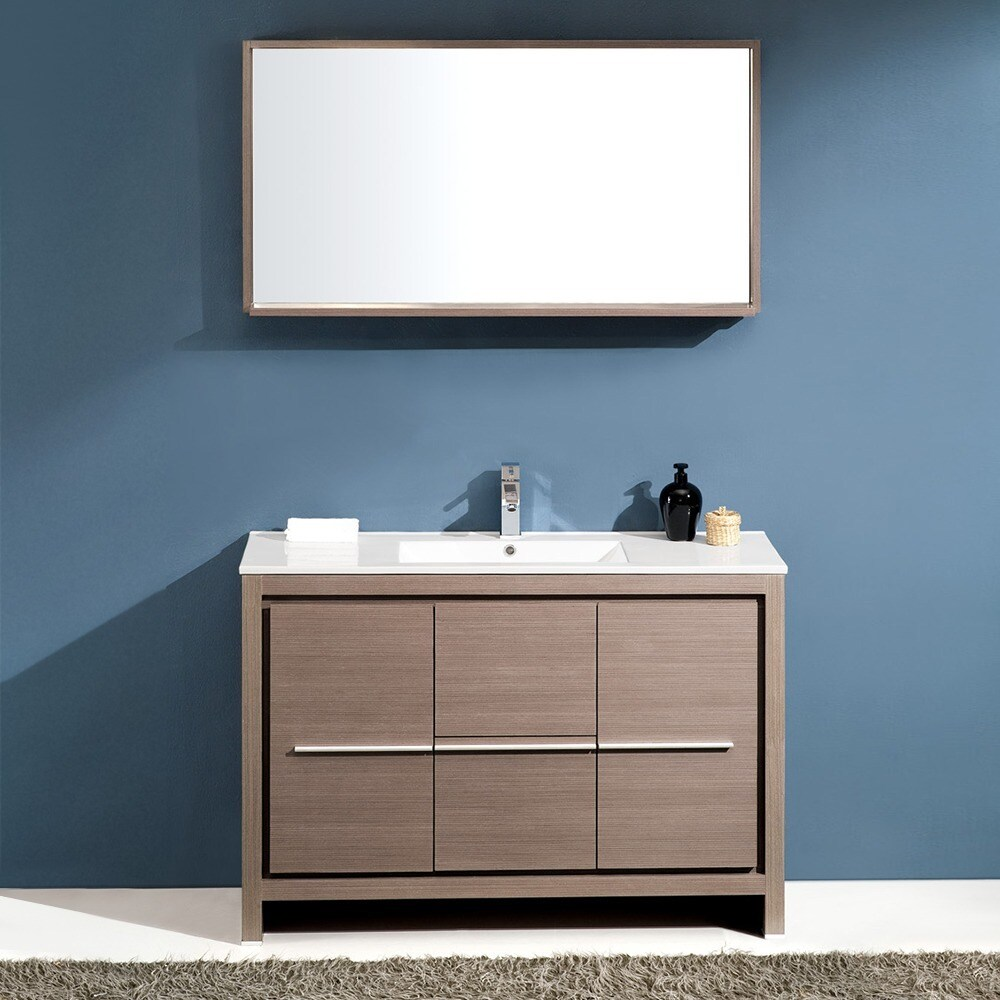 Fresca Allier 48-inch Grey Oak Modern Bathroom Vanity with Mirror ...