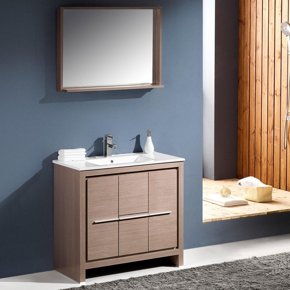 Attractive Shop Fresca Allier 36 Inch Grey Oak Modern Bathroom Vanity With Mirror    Free Shipping Today   Overstock.com   7456468