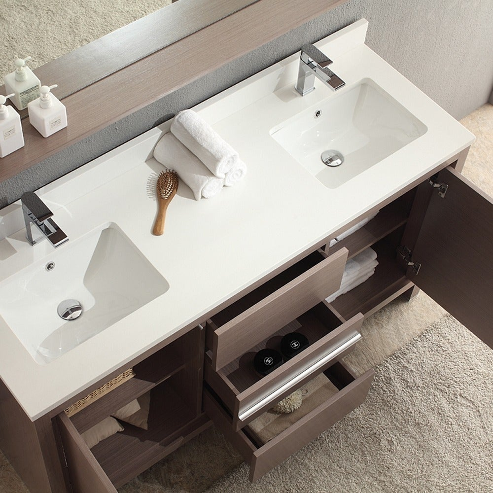 Shop Fresca Allier 60-inch Grey Oak Modern Double Sink Bathroom ...