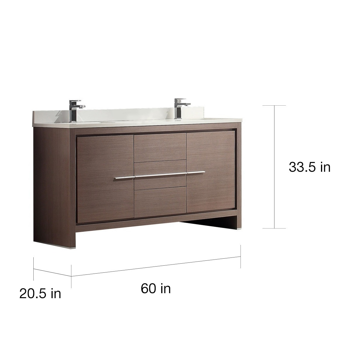 Shop Fresca Allier 60-inch Grey Oak Modern Double Sink Bathroom ...
