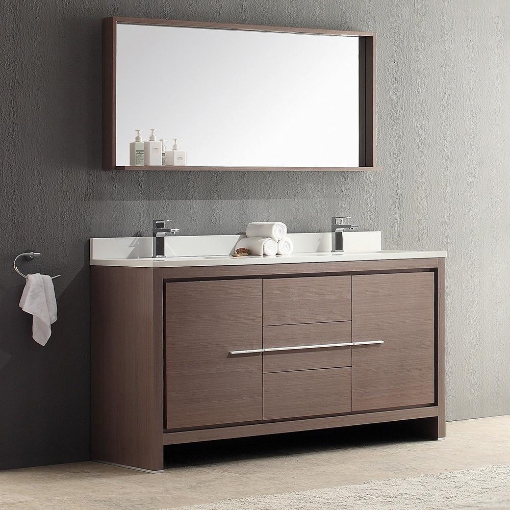 Shop Fresca Allier 60 Inch Grey Oak Modern Double Sink Bathroom