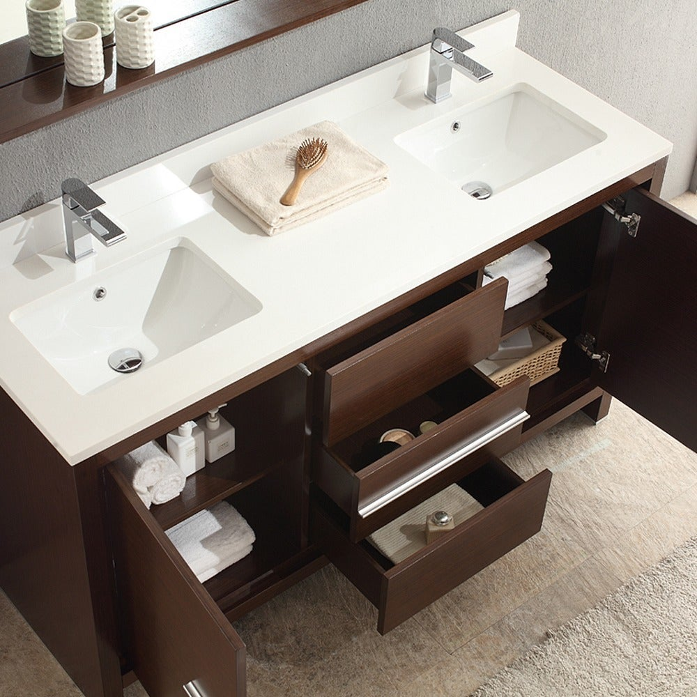 60 In Double Sink Bathroom Vanity. Fresca Allier 60 inch Wenge Brown Modern Double Sink Bathroom Vanity with  Mirror Free Shipping Today Overstock com 14906424