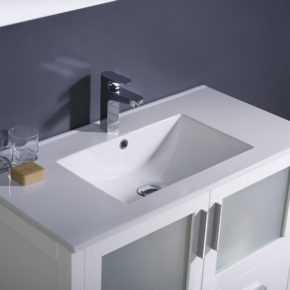 Shop Fresca Torino 36 Inch White Modern Bathroom Vanity With Undermount  Sink   Free Shipping Today   Overstock.com   7456512