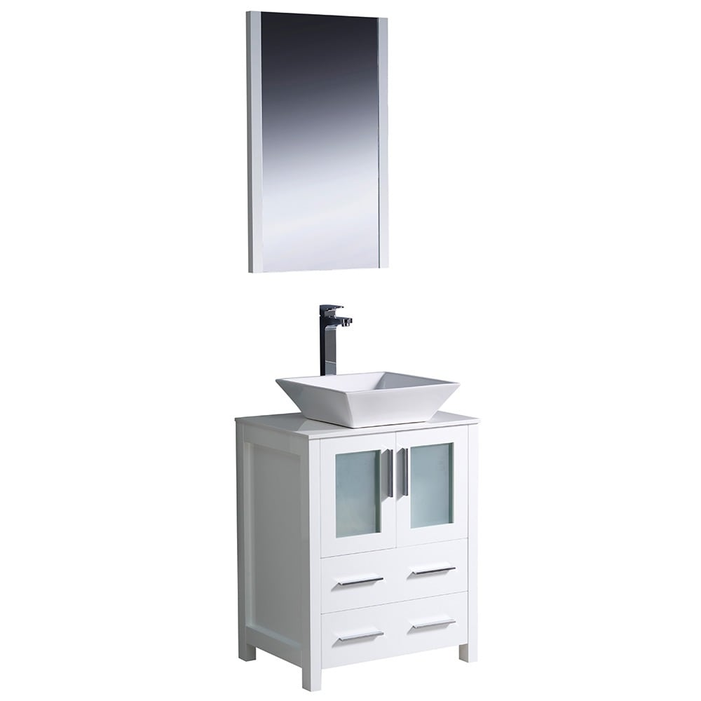 Shop Fresca Torino 24-inch White Modern Bathroom Vanity with Vessel ...