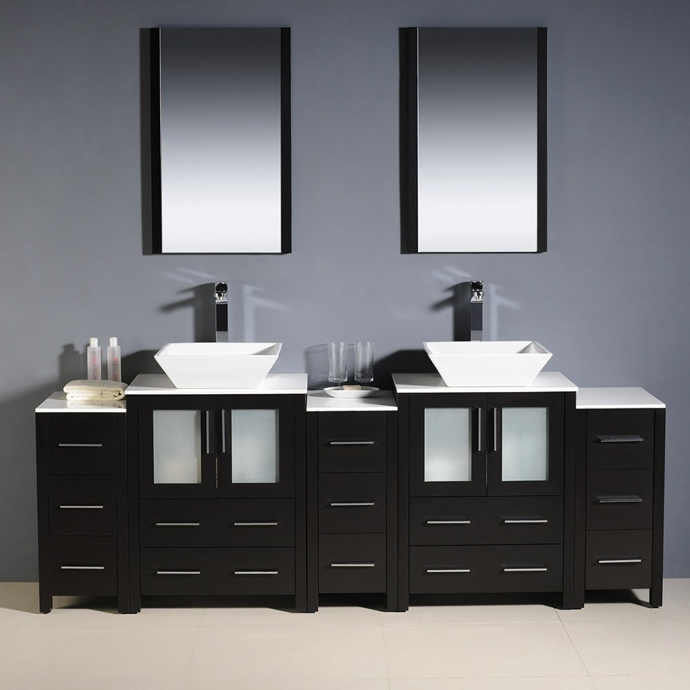 . Fresca Torino 84 inch Espresso Modern Bathroom Double Vanity with 3 Side  Cabinets and Vessel Sinks