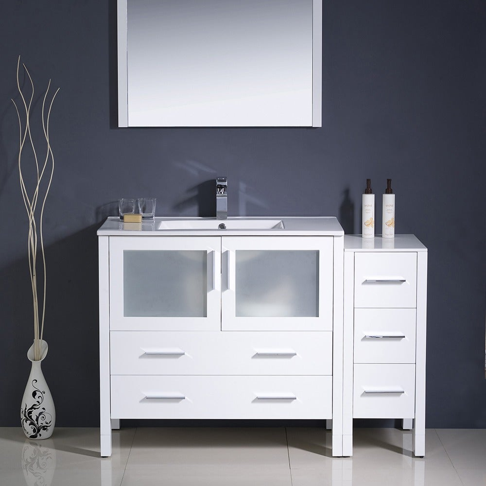 Shop Fresca Torino 48-inch White Modern Bathroom Vanity with Side ...