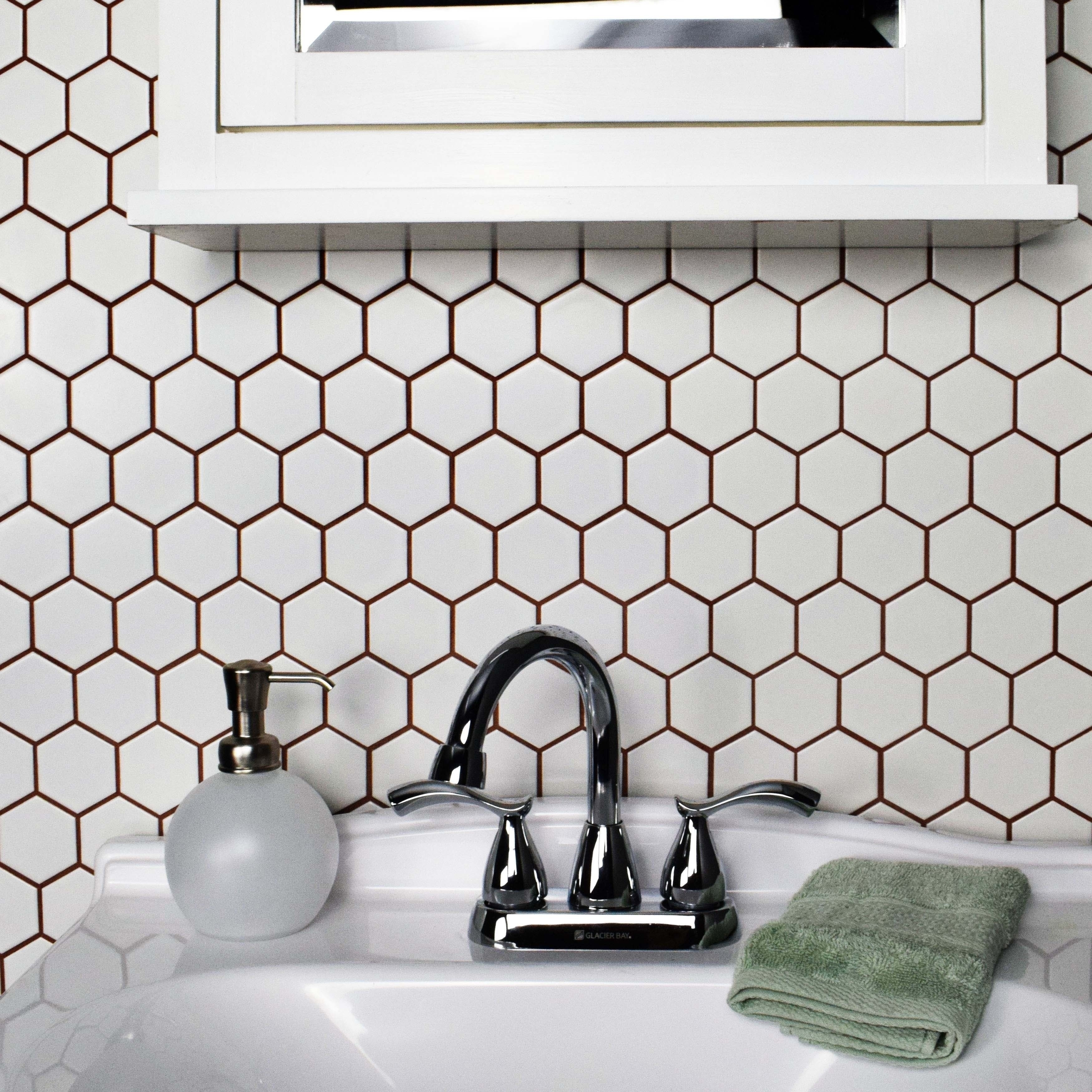 SomerTile Victorian Hex Matte White Porcelain 10.5-inch x 11-inch ...