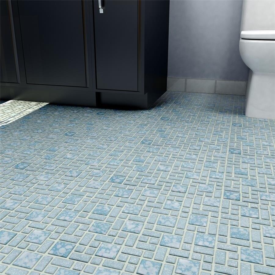 Shop SomerTile 11.75x11.75-inch Academy Blue Porcelain Mosaic Floor ...