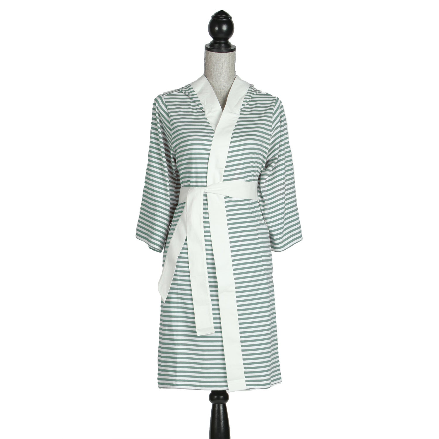 Shop Women s Organic Cotton White and Teal Stripe Bath Robe - On Sale -  Free Shipping On Orders Over  45 - Overstock - 7458354 4b5ed5153