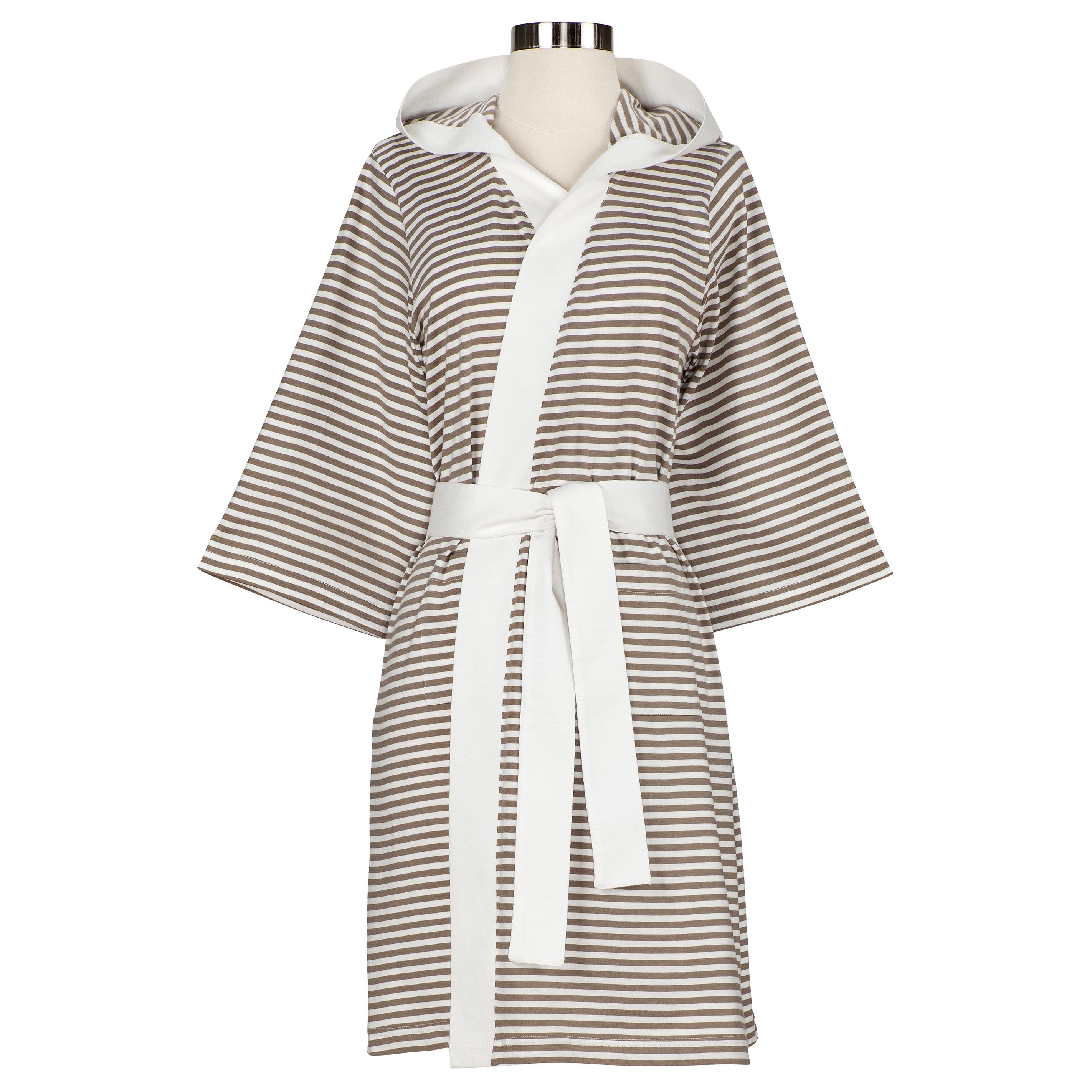 Shop Women s Organic Cotton Stripe Bath Robe - On Sale - Free Shipping Today  - Overstock - 7458364 7ca5a4bb7