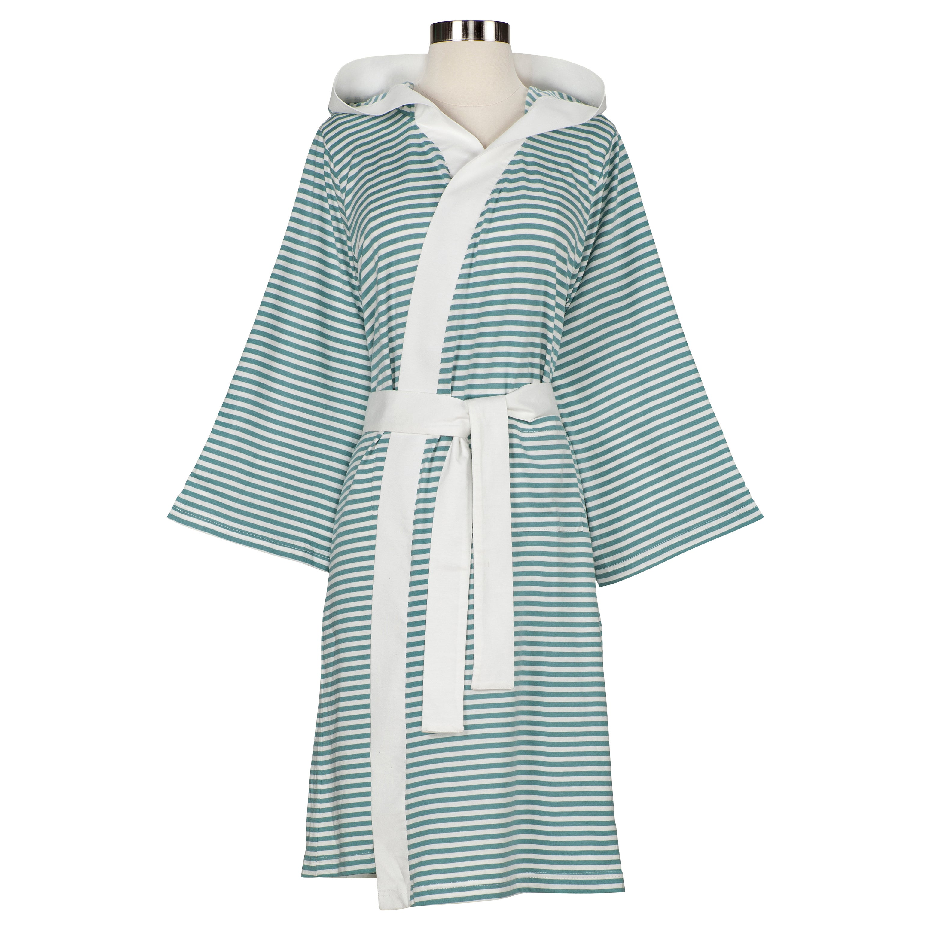 f29c8d1467 Shop Women s Organic Cotton Stripe Bath Robe - On Sale - Free Shipping  Today - Overstock.com - 7458364