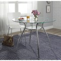 Simple Living Tempered Glass Chrome Round Dining Table