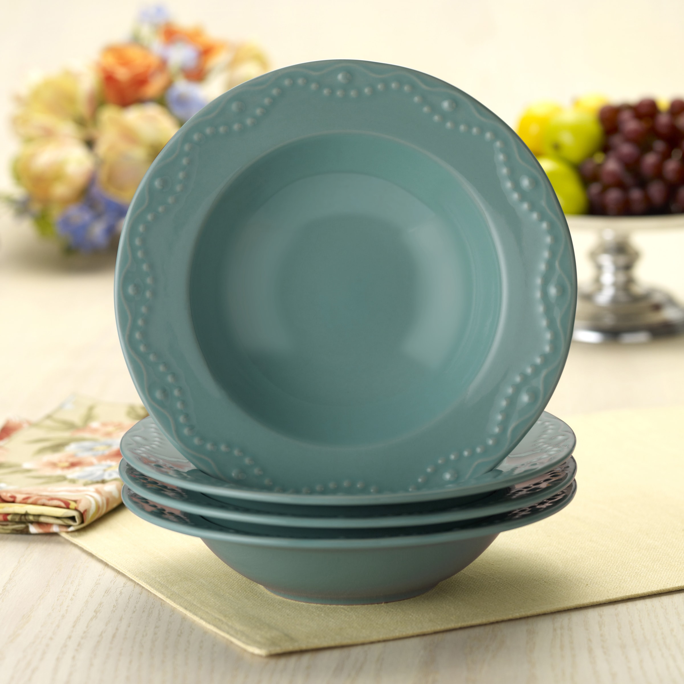 Shop Paula Deen Whitaker Aqua 9-inch Soup Bowls (Set of 4) - Free ...