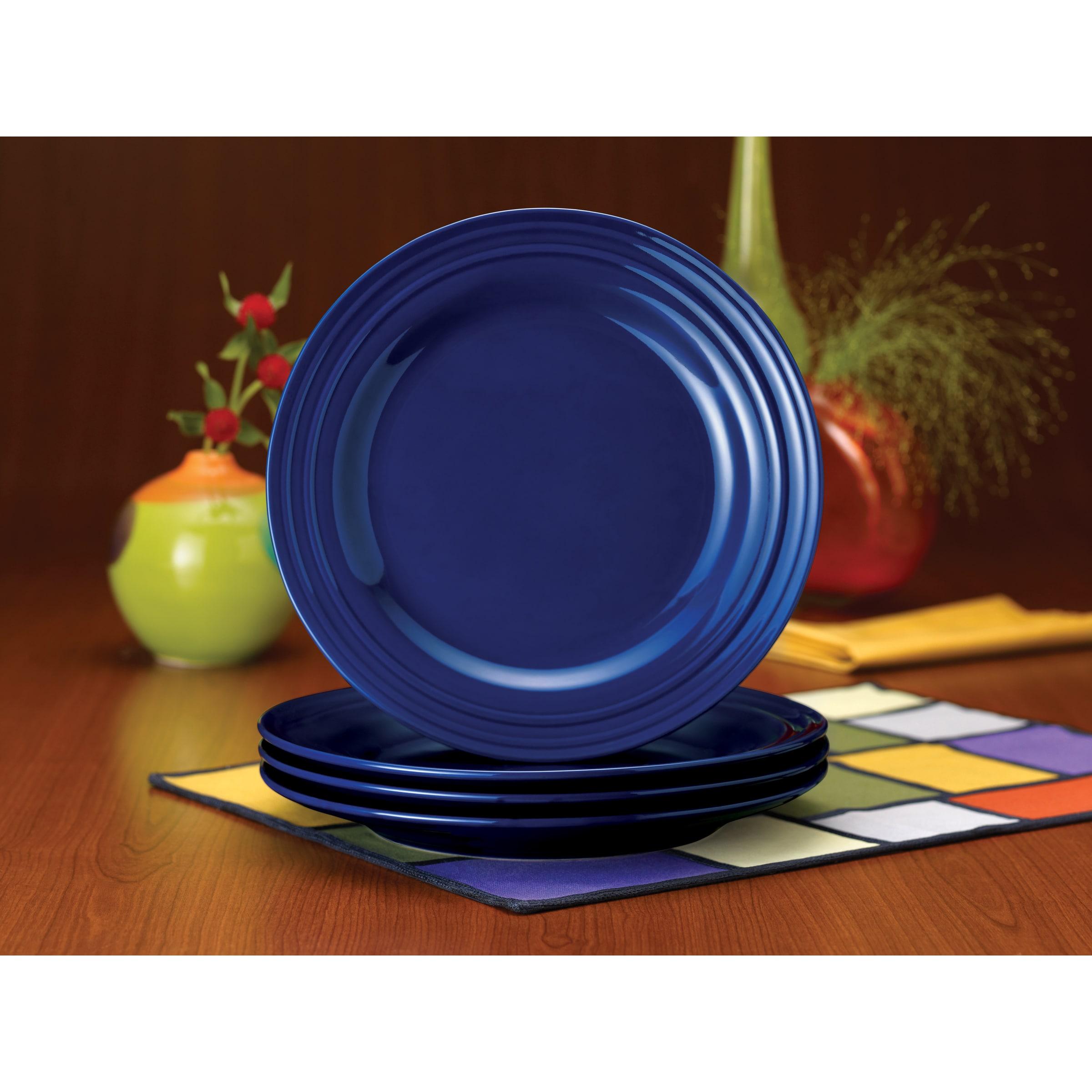 Shop Rachael Ray Double Ridge 11-inch Blue Dinner Plates (Set of 4 ...