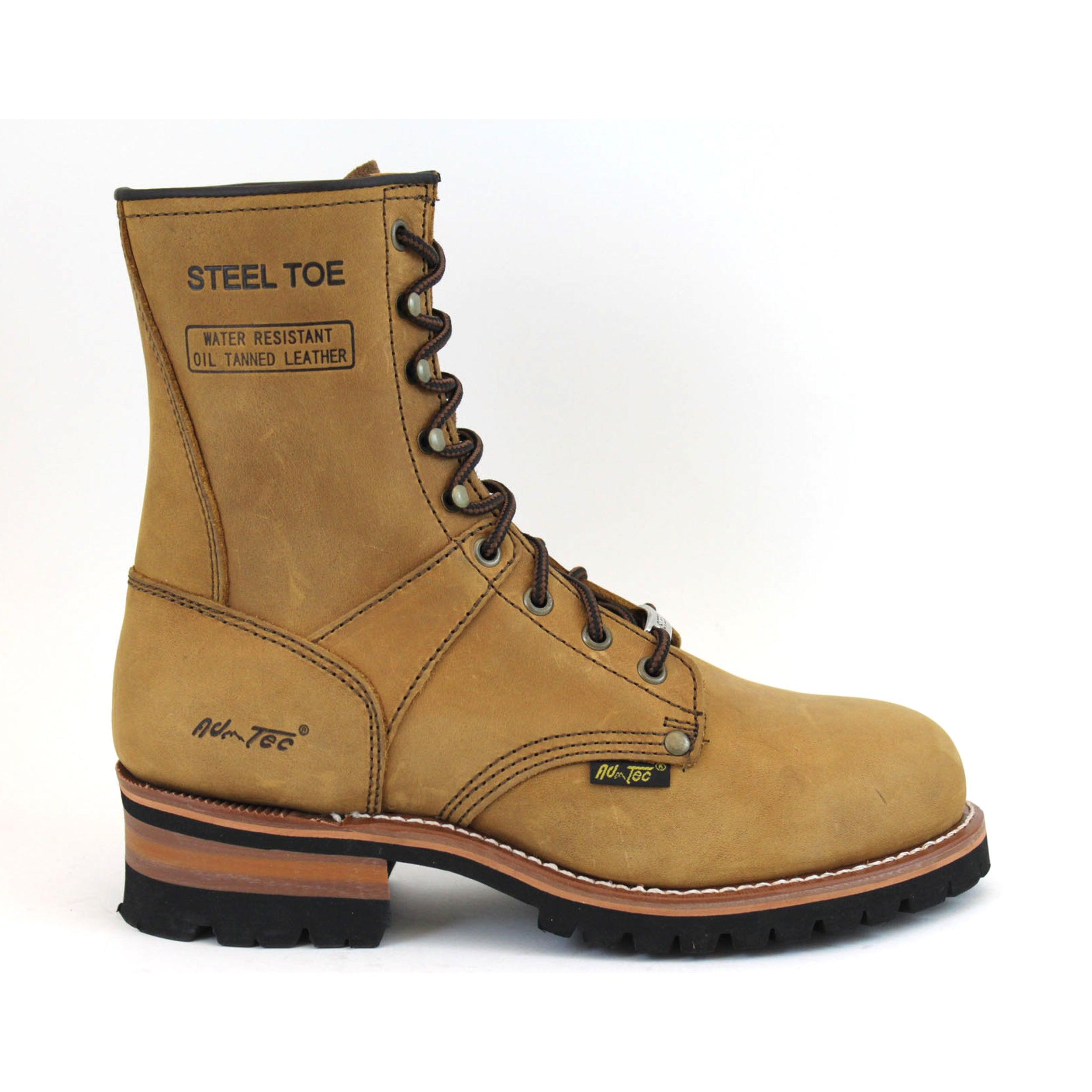 bf5beef82b7 AdTec Men's 9-inch Brown Steel-toed Logger Boots