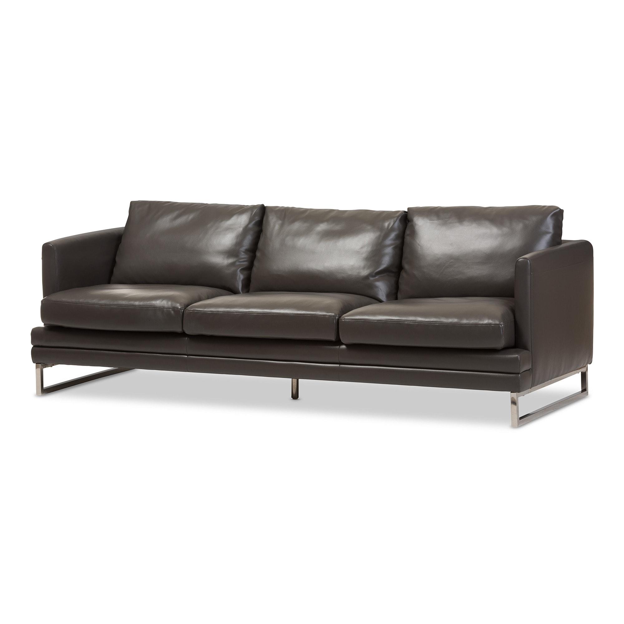 Baxton Studio Dakota Pewter Grey Leather Modern Sofa Free  # Muebles Mundo Box