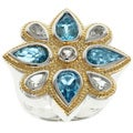 Michael Valitutti Jason Dow Two-tone Swiss Blue Topaz Ring