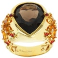 18k Yellow Gold Over Sterling Silver Pear-Shaped Smoky Quartz with Citrine and Sapphire Ring by Michael Valitutti Jason Dow