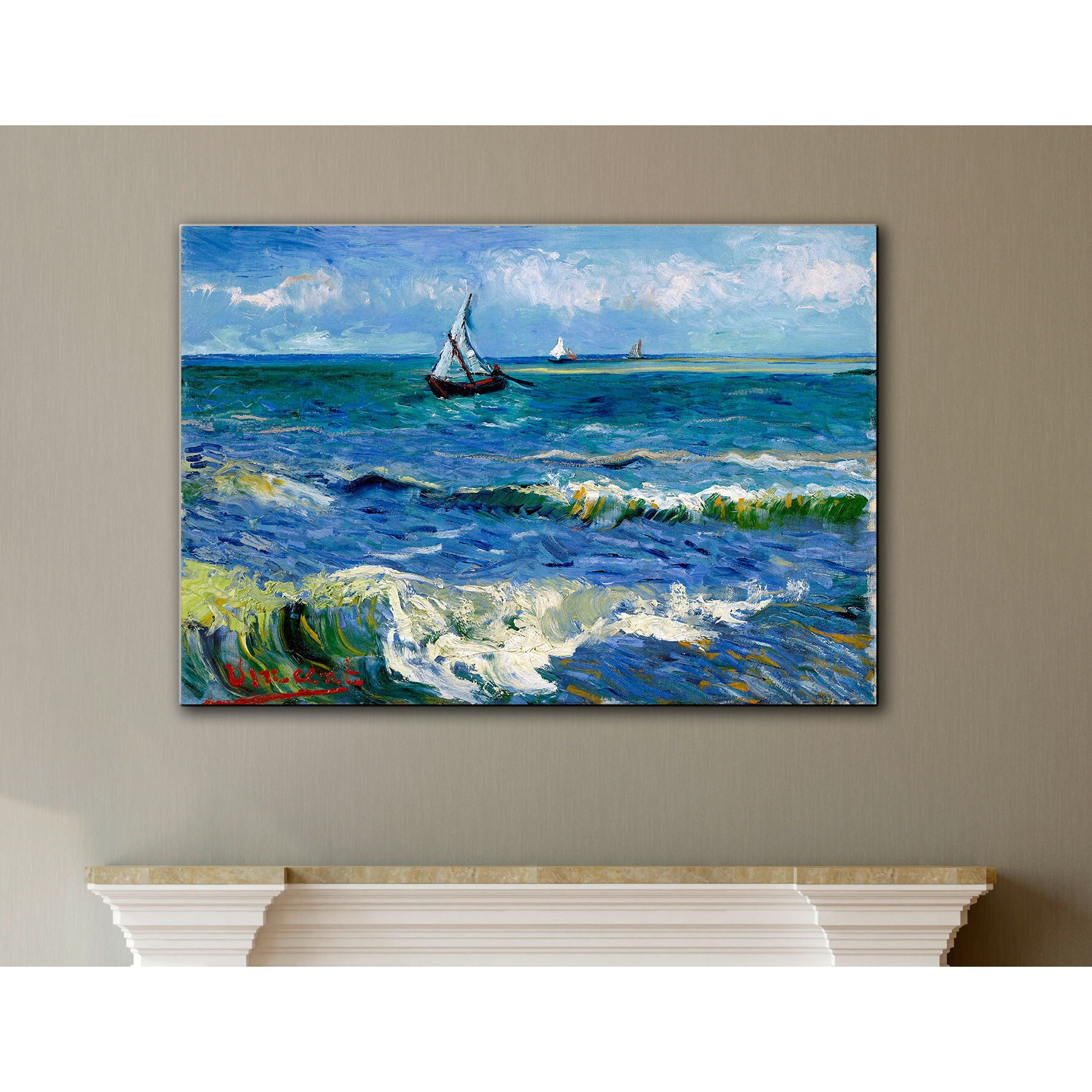Shop vangogh seascape at saintes maries wrapped canvas art multi on sale free shipping on orders over 45 overstock com 7484885