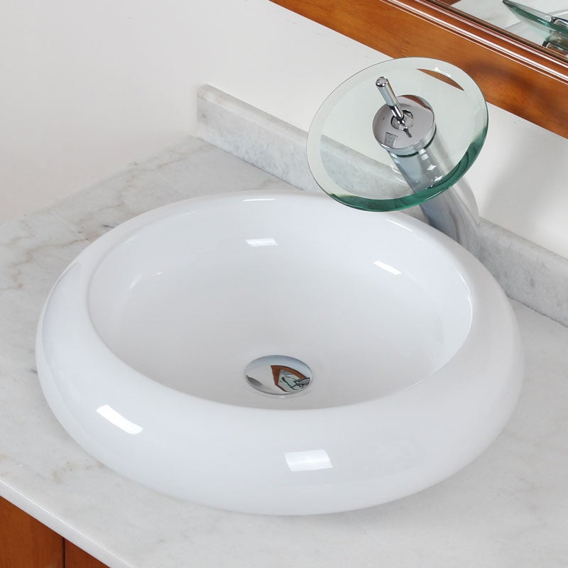 Elite Ceramic Vessel Bathroom Sink and Tall Waterfall Faucet - Free ...