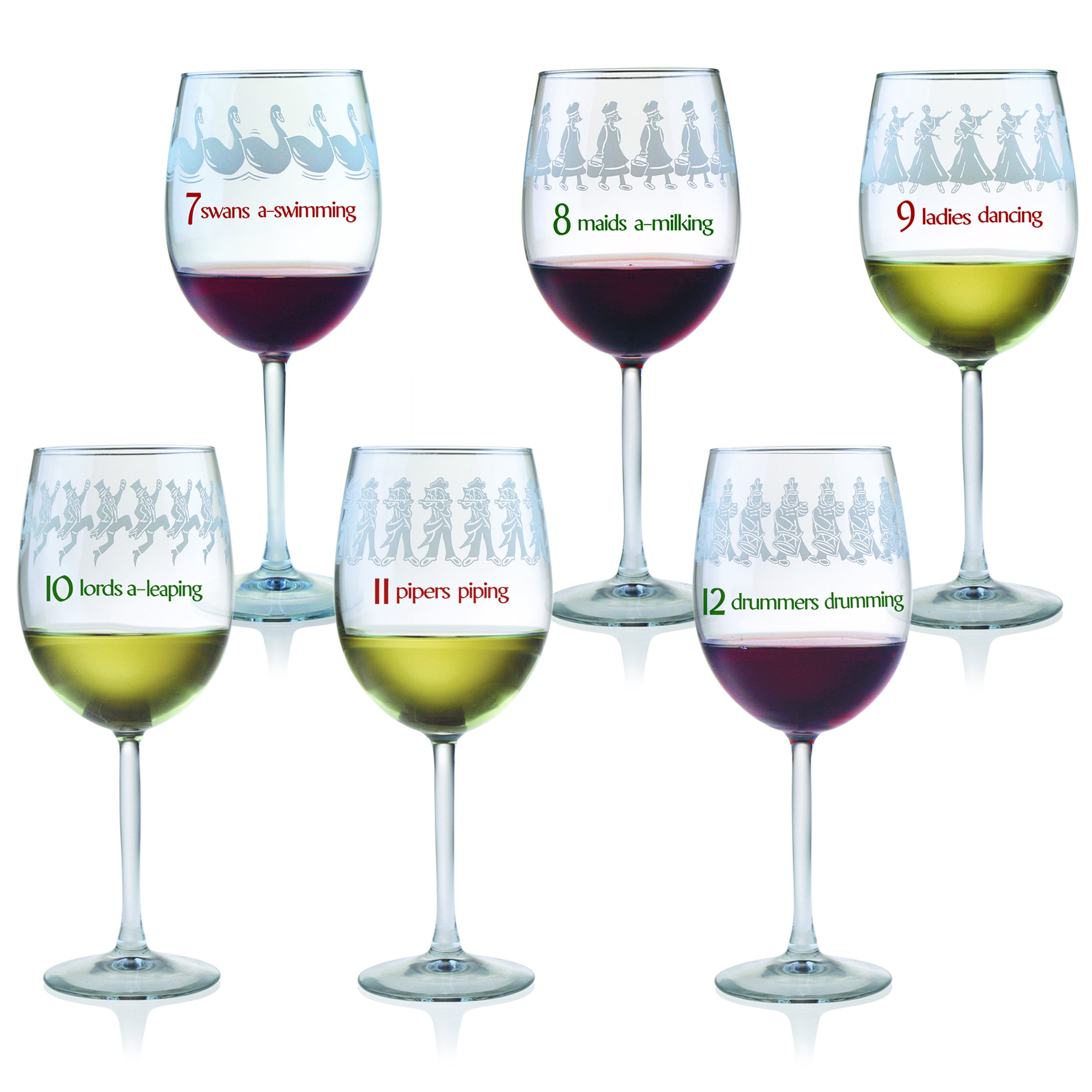 shop 12 days of christmas all purpose wine glasses set of 12 free shipping today overstockcom 7493042