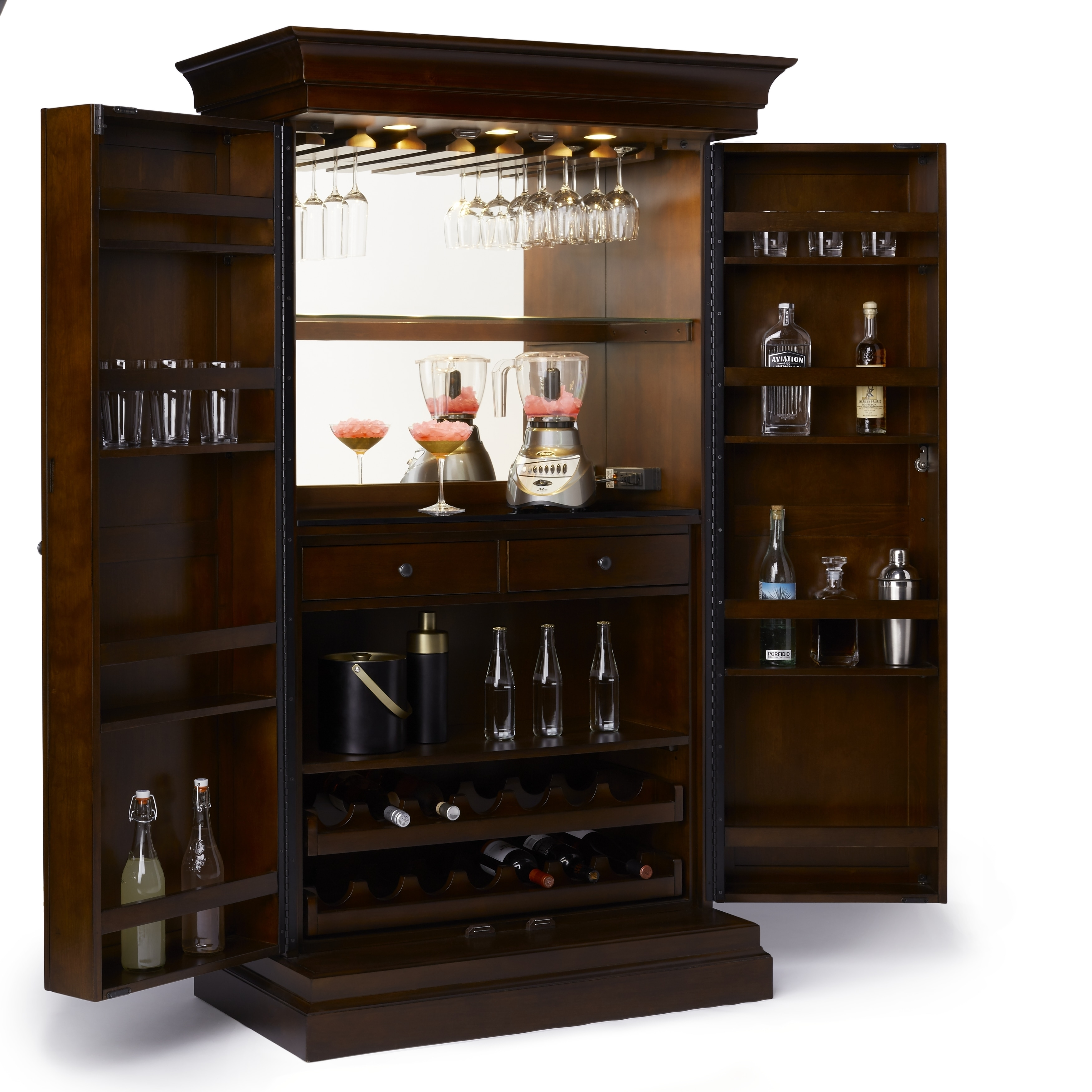 Ashley Heights Cherry finished Wood Home Bar Wine