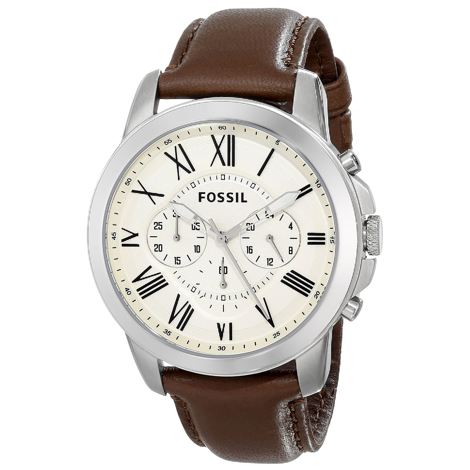 Shop Fossil Men s FS4735 Grant Chronograph Leather Watch - White ... c95803a631f3