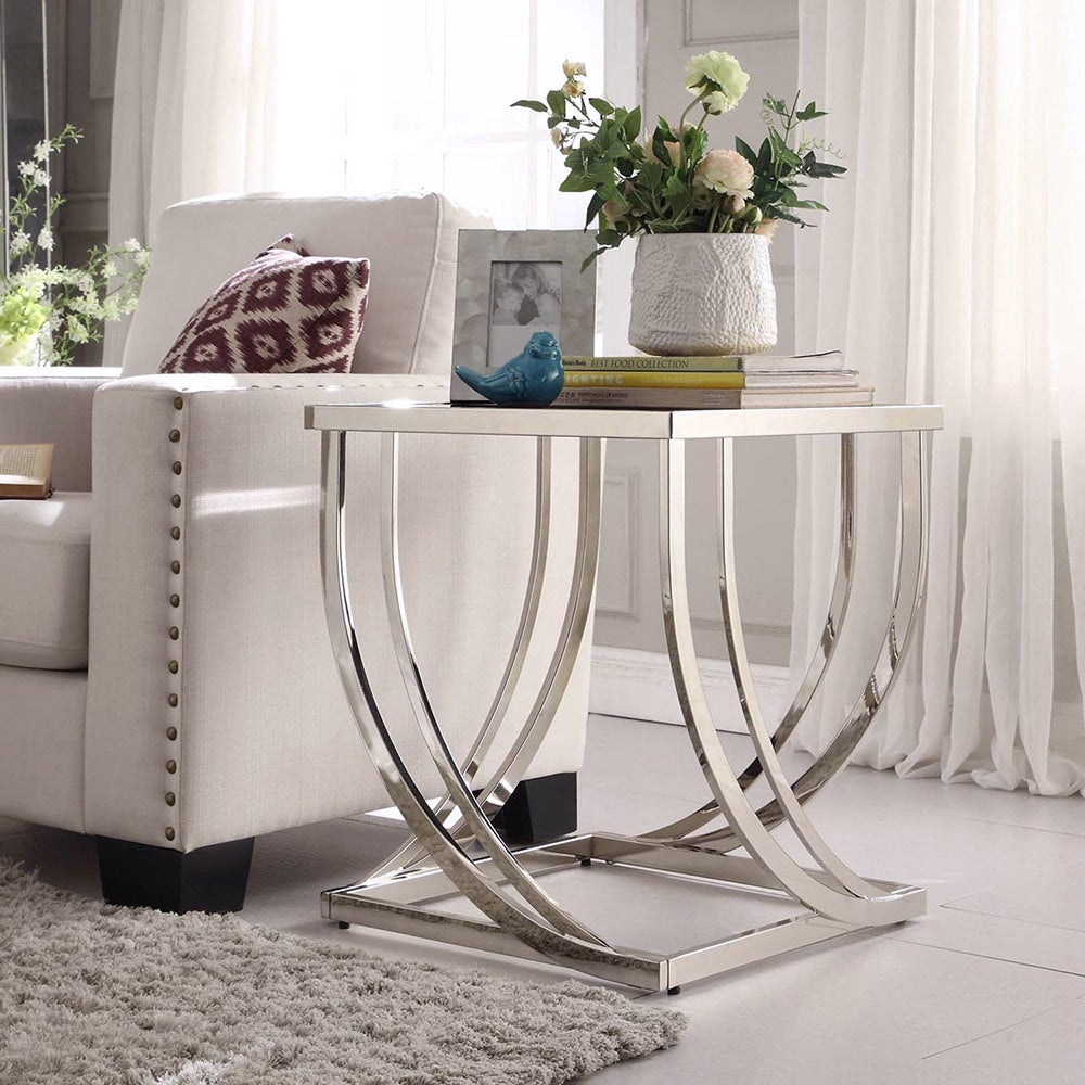 Anson Steel Brushed Arch Curved Sculptural Modern End Table By Inspire Q Bold On Free Shipping Today 7502660