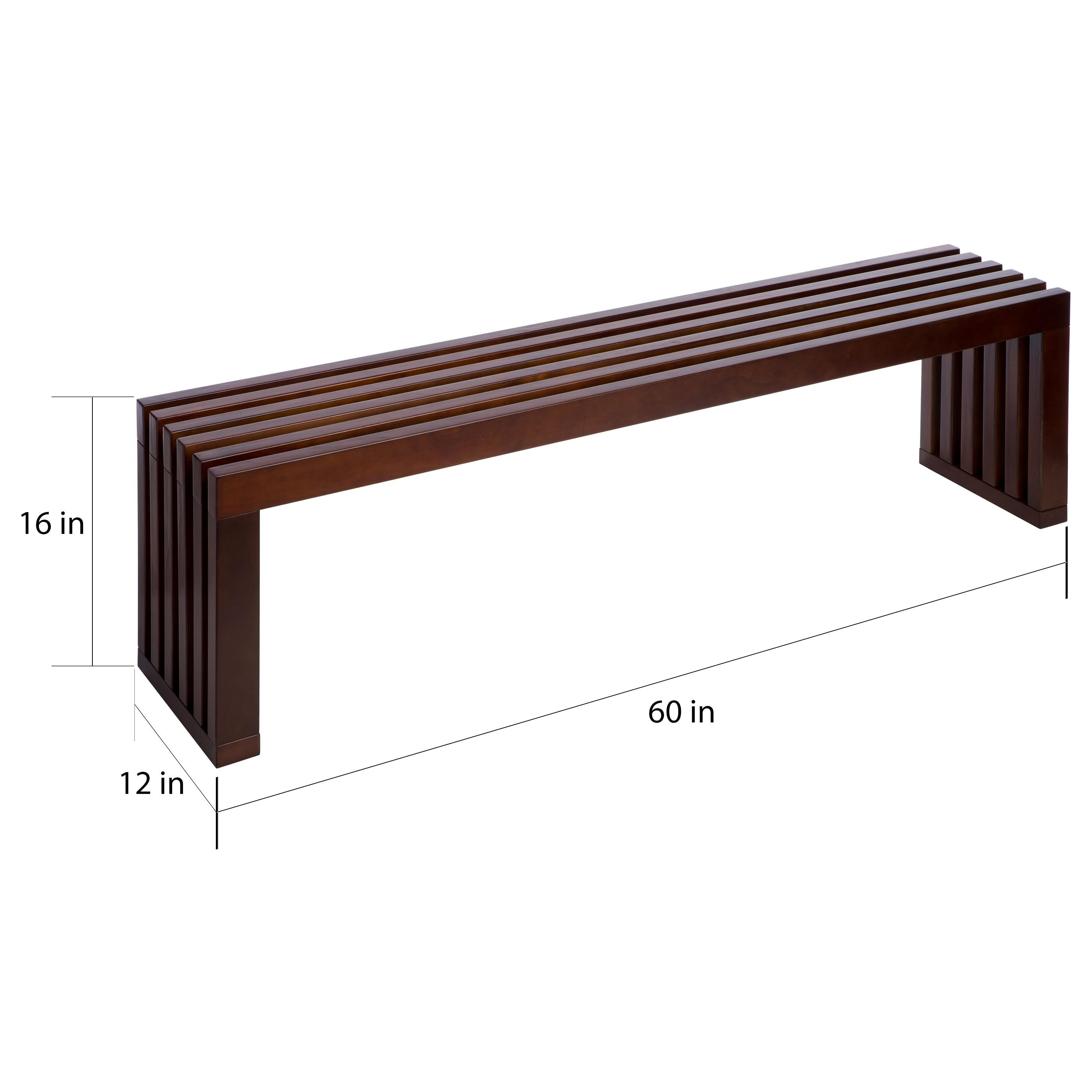 Walnut Finish 60 inch Slat Bench Free Shipping Today Overstock