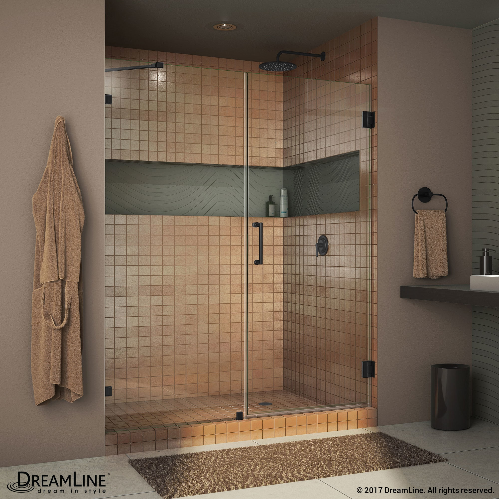 Shop DreamLine Unidoor Lux 57-60 in. Frameless Hinged Shower Door ...