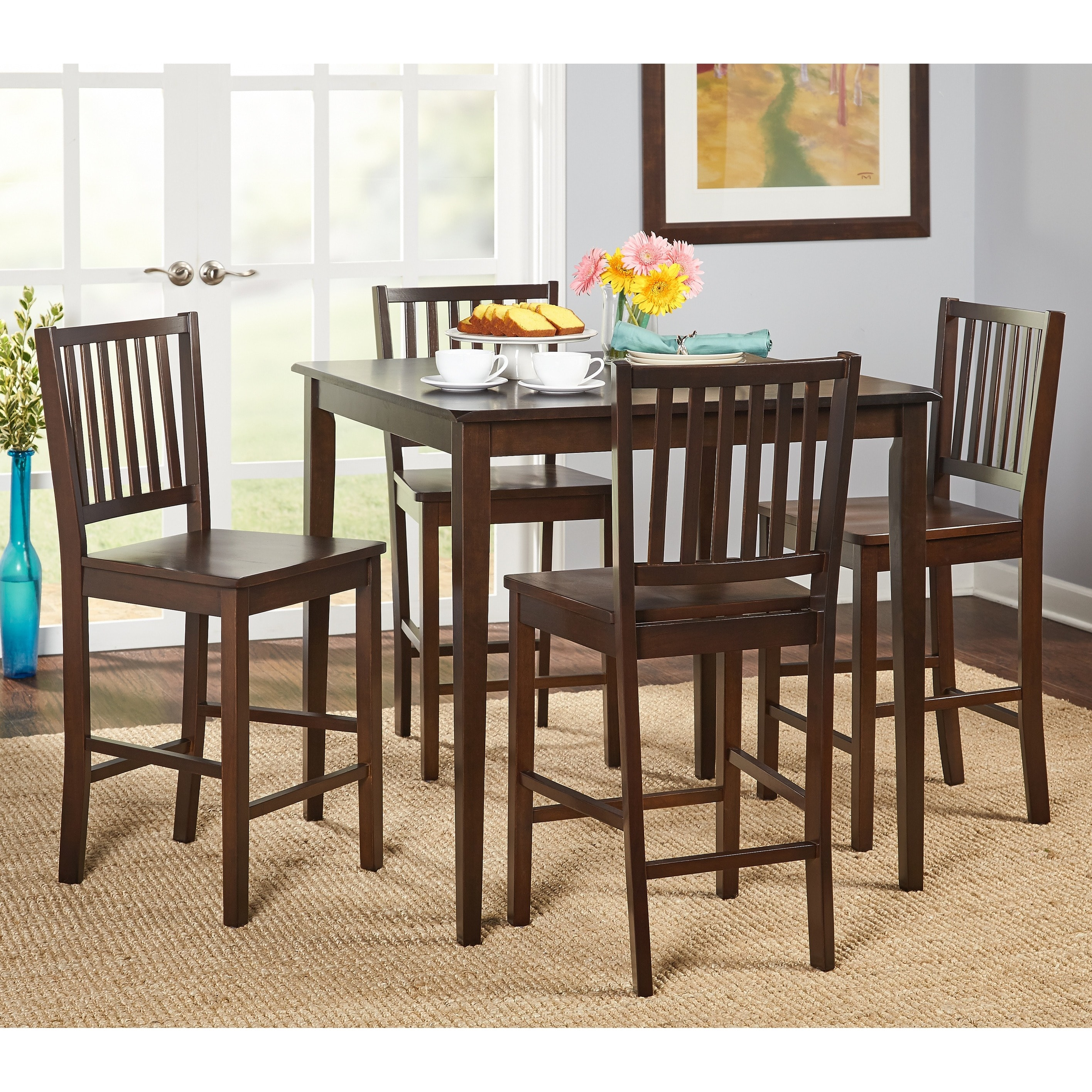 Good Shop Simple Living Shaker Counter Height 5 Piece Dining Set   Free Shipping  Today   Overstock.com   7512046