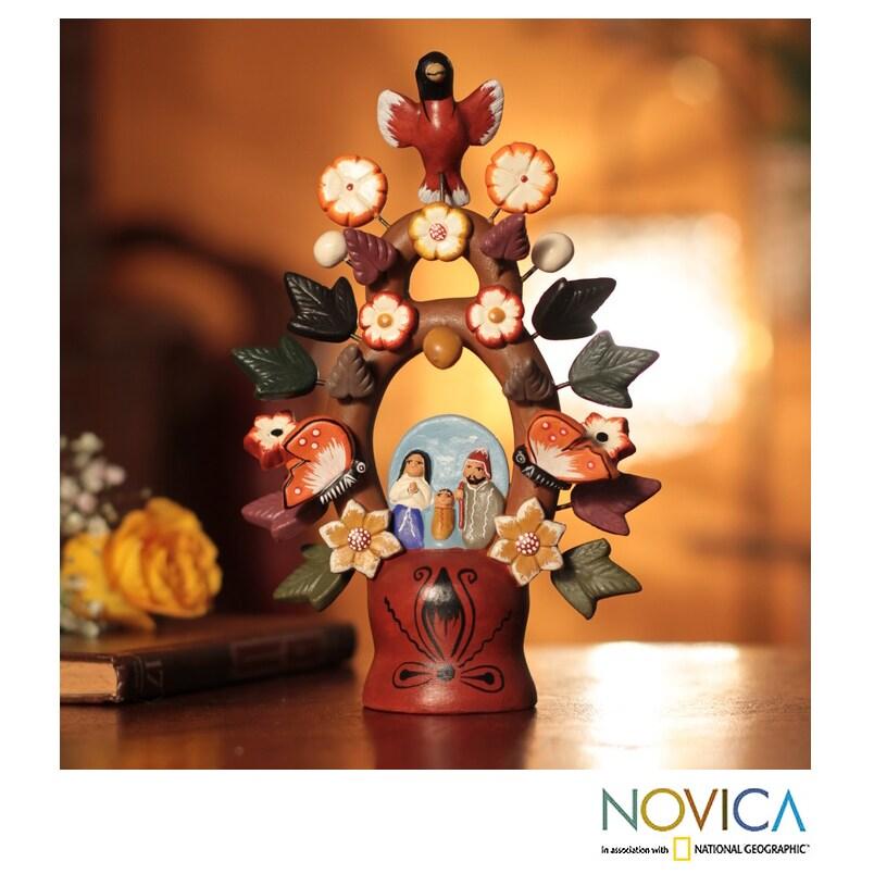 Handmade Ceramic Christmas Tree Of Life Nativity Scene Figurine Peru