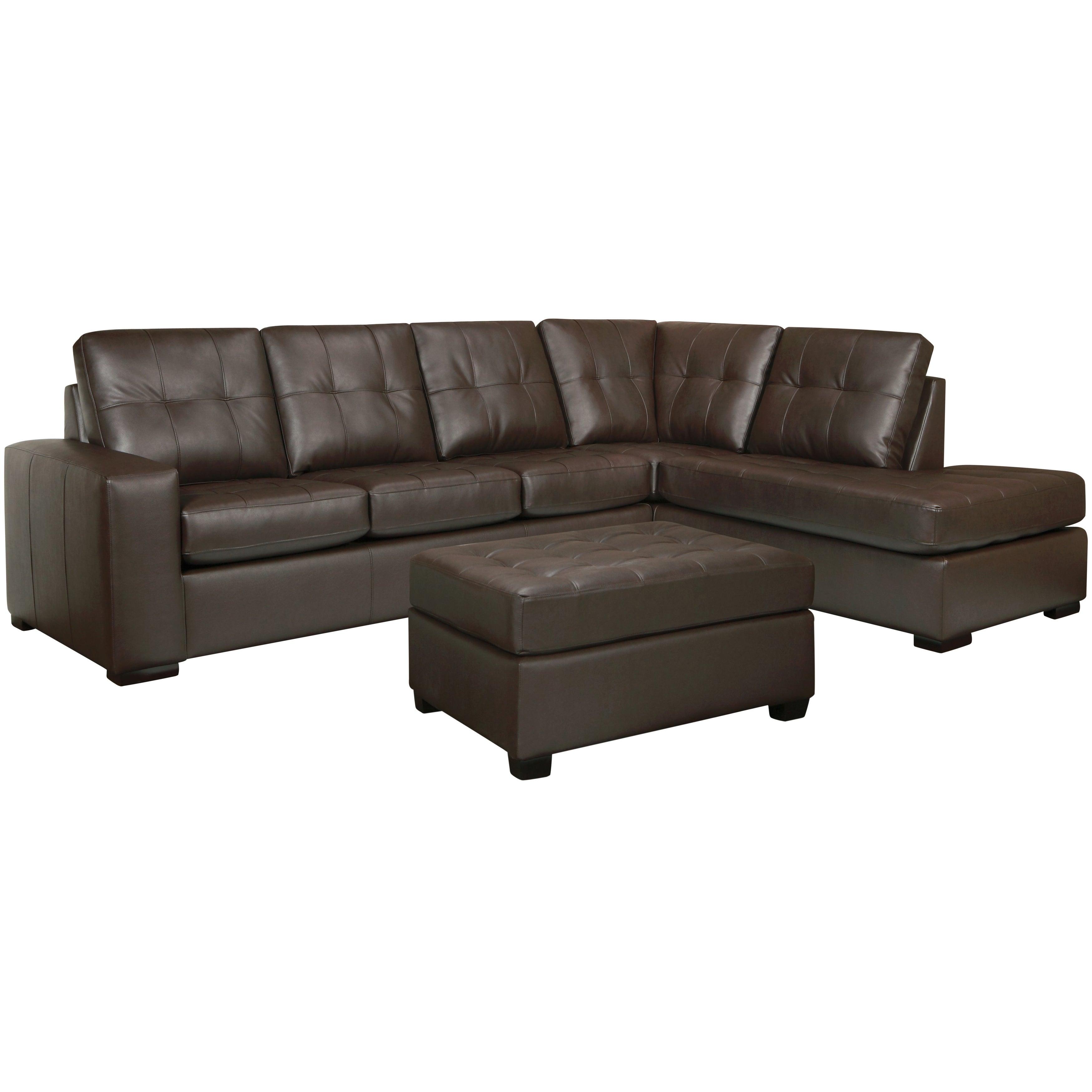 Drake Chocolate Brown Italian Leather Sectional Sofa And Ottoman  ~ Chocolate Sectional Sofa Set With Chaise