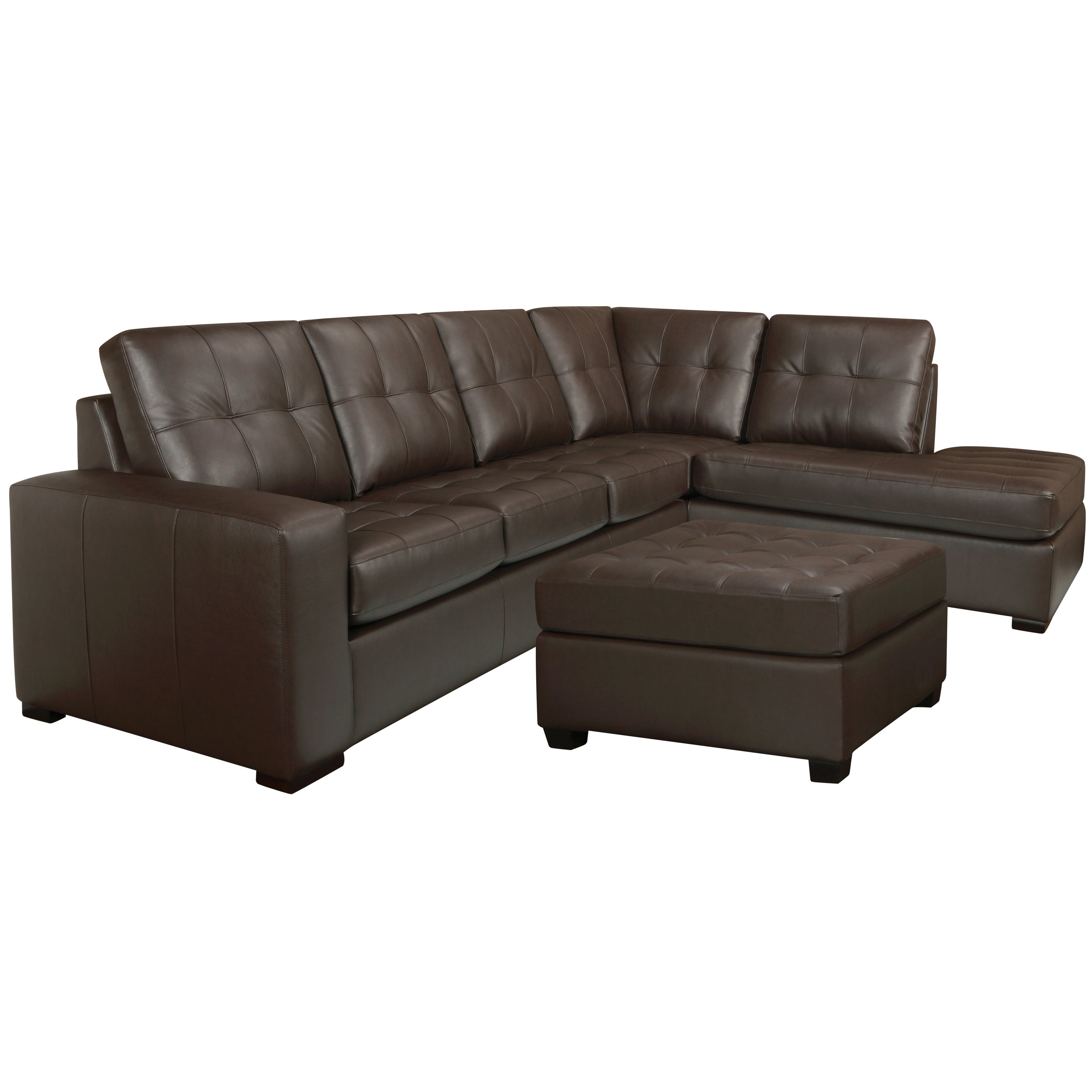 Drake Chocolate Brown Italian Leather Sectional Sofa And Ottoman On Free Shipping Today 7516902