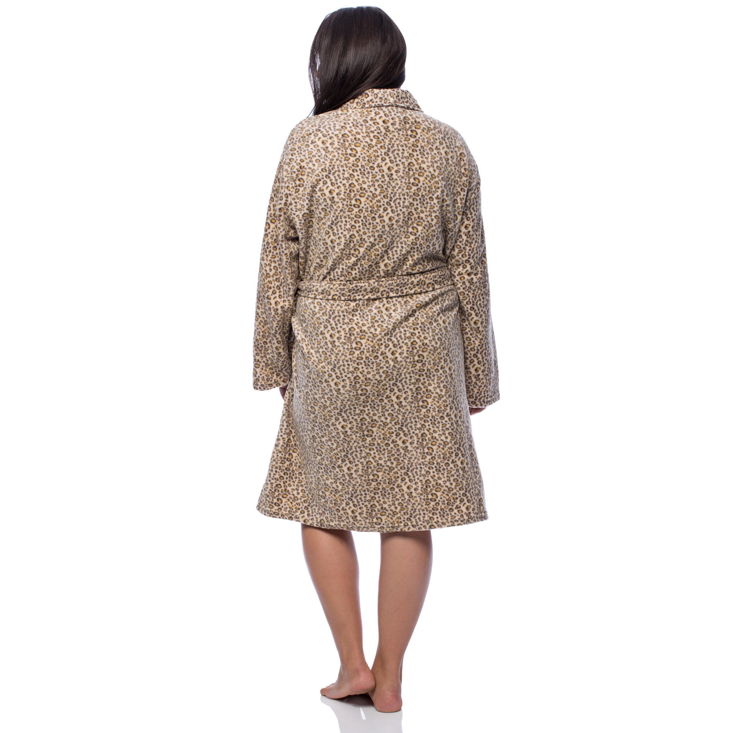 La Cera Womens Plus Size Cheetah Print Fleece Robe Free Shipping