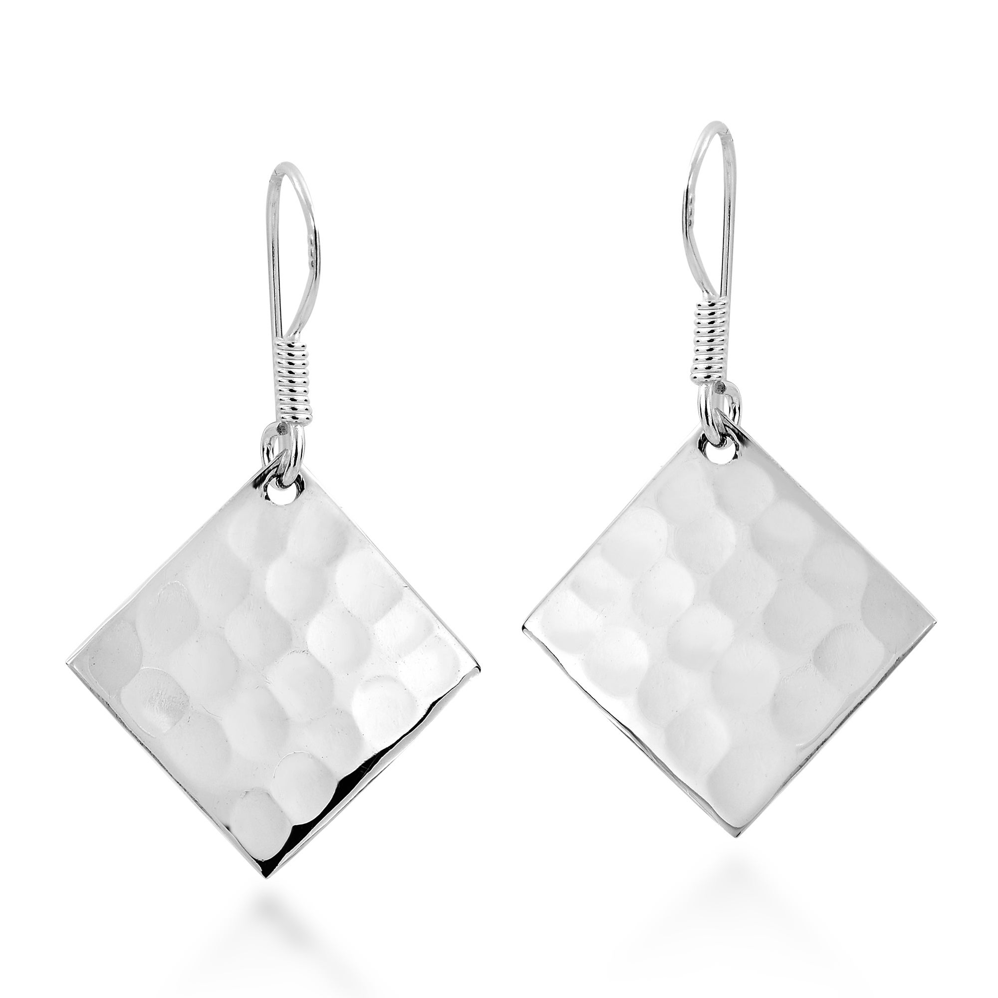 Handmade Hammer Texture Tilted Square 925 Silver Earrings Thailand On Free Shipping Orders Over 45 7524100